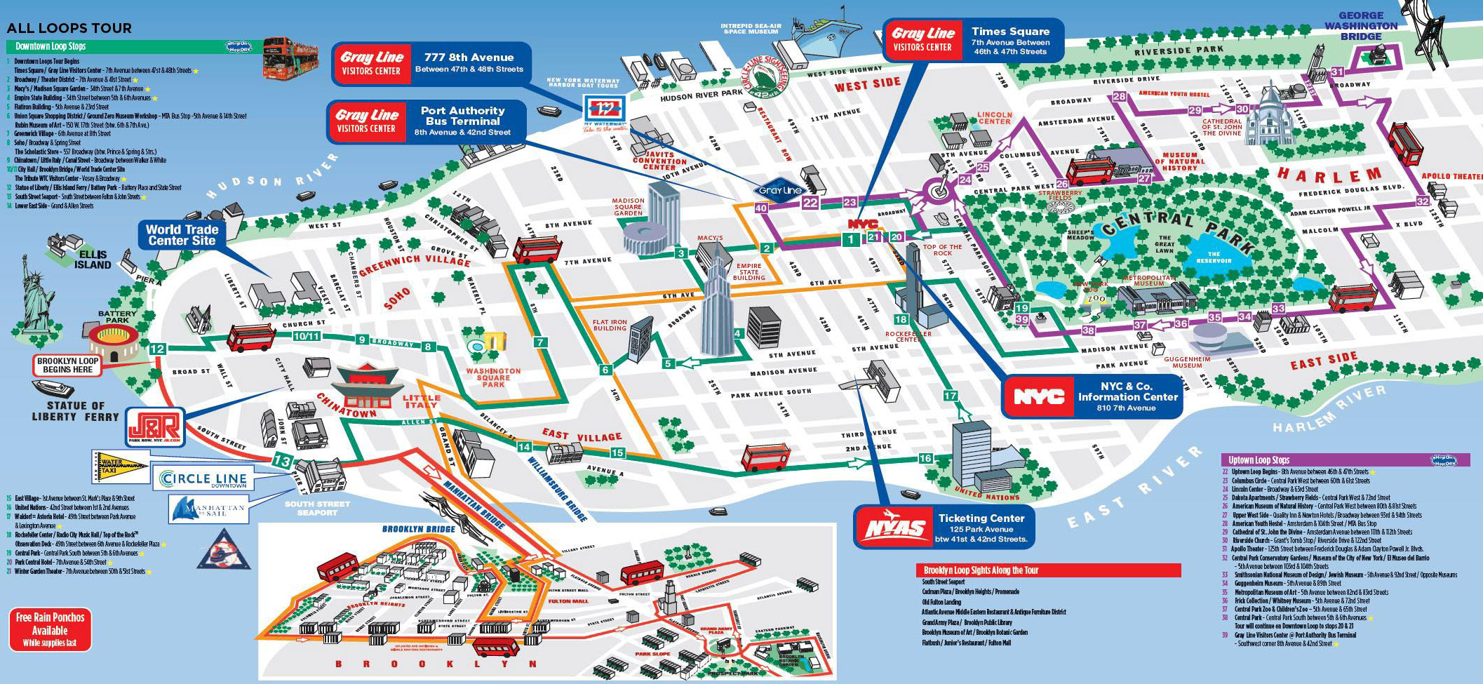 New York City Hop-On Hop-Off Tour Map
